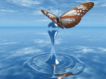 the butterfly and the drop of water Stock Photo - 10760534