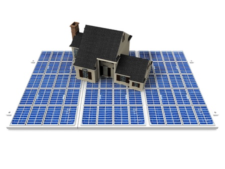 the beautiful house on solar cell photo