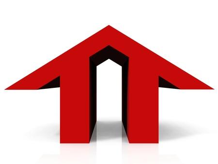 prefabricated buildings: la casa en forma de logo rojo