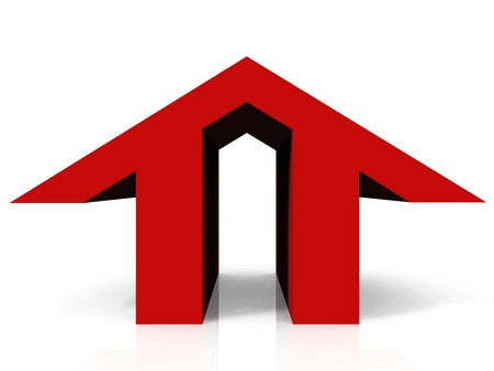 the logo shaped red home Stock Photo