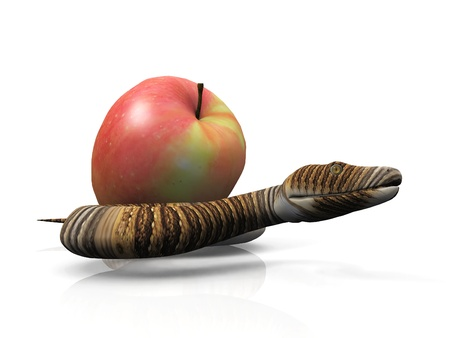 garden of eden: the snake and the apple Stock Photo