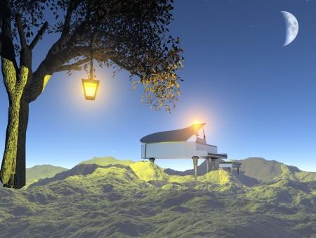 piano: piano en la noche la naturaleza