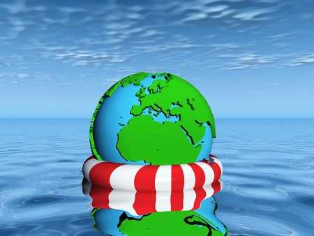 drowning: save  the earth from drowning Stock Photo