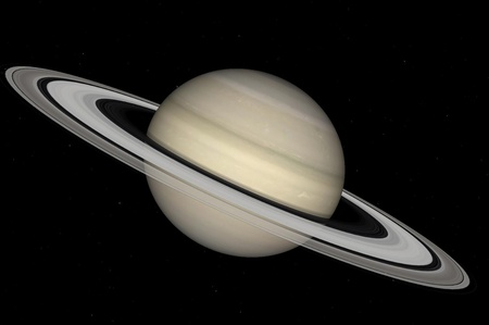 Saturn on a background of stars