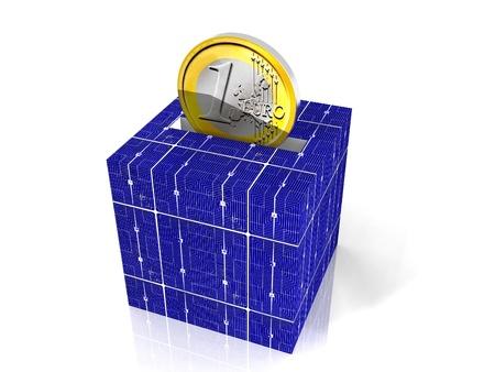 태양 전지의 돈궤 스톡 콘텐츠