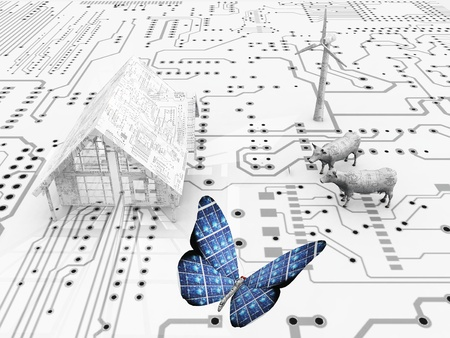 Butterfly in an electronic world photo