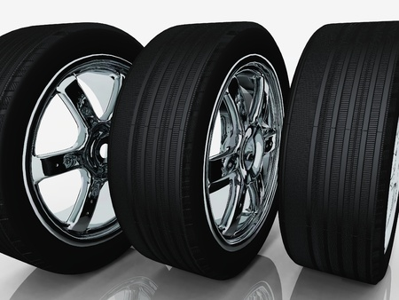 rims: tires and rims on a white background