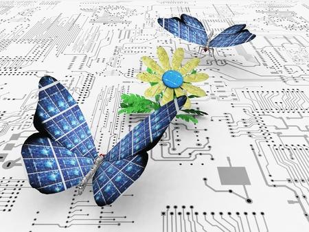 아름다운 나비와 회로 스톡 콘텐츠