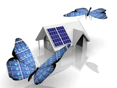 inventing: the solar cell butterfly Stock Photo