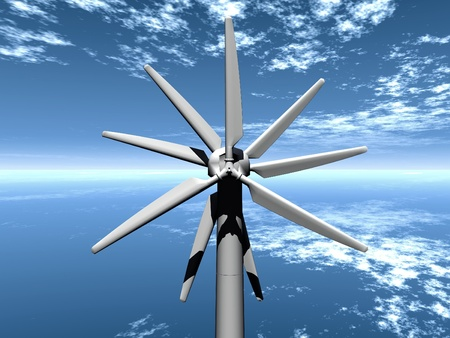 a  multi-bladed wind turbine photo