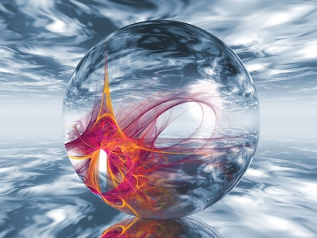 a  transparent ball containing shapes photo