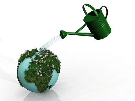 the watering can and the green earth photo
