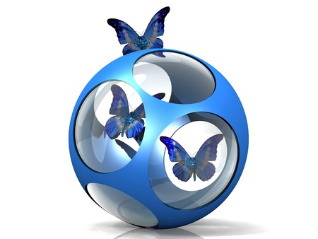 the butterfly in a metal and glass ball