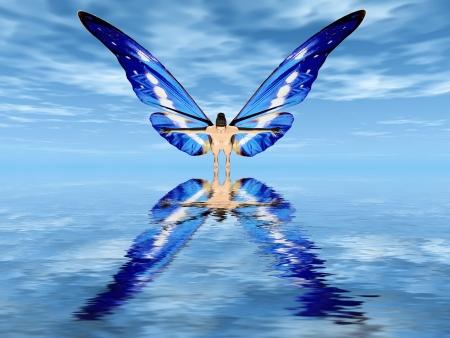 la fée aux ailes de papillon Banque d'images