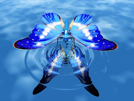 the beautiful butterfly on water Imagens - 10882683