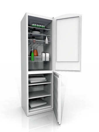 the refrigerator and freezer on a white background photo