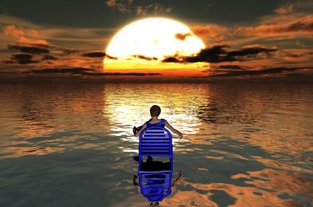 admiring: the woman sitting admiring the sunset