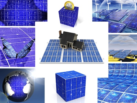composition of images of solar cell photo