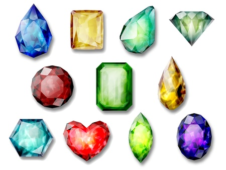 composition  of images of precious stones Stock Photo