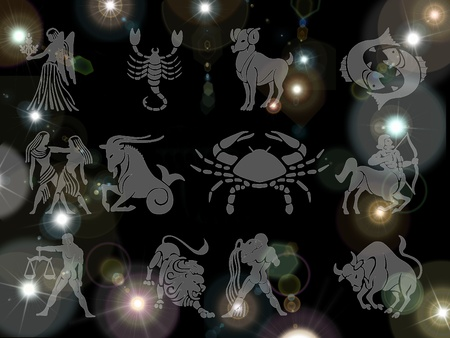 zodiac signs on a background of stars photo