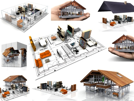 composition  of images of houses Standard-Bild