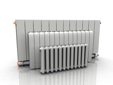 il radiatore su uno sfondo bianco Archivio Fotografico