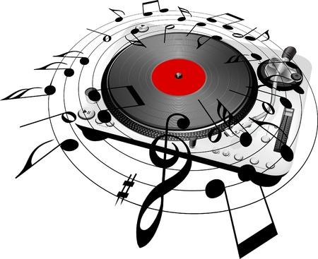 턴테이블과 뮤지컬 노트 스톡 콘텐츠