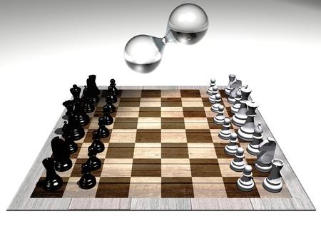 chess set and hourglass photo