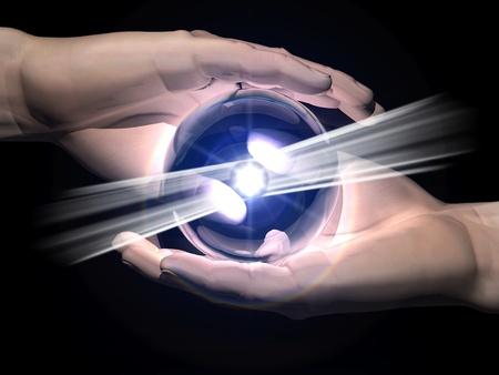 esoterismo: bola de la clarividencia en la mano