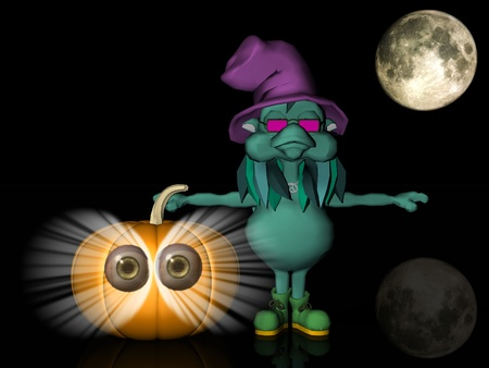 pumkin: the witch with Pumpkin  and moon Stock Photo