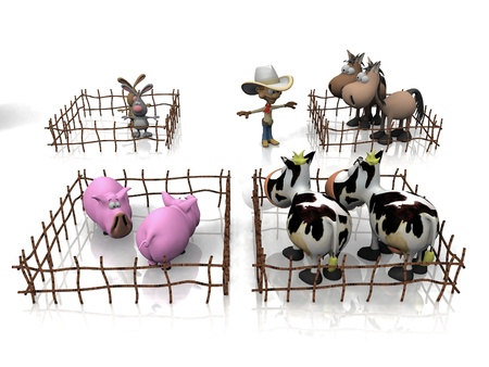 breeding: breeding of pigs, cows,  horses and rabbits