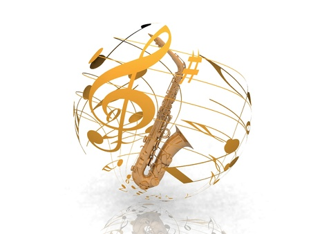symphony orchestra: saxophone and musical notes