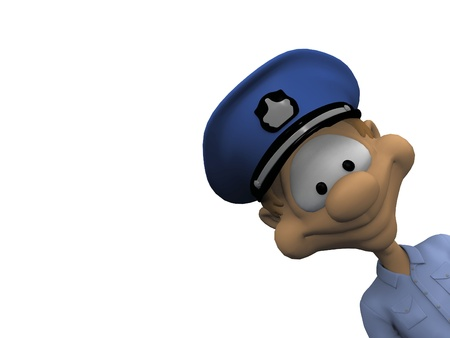 cartoon police officer: policeman on a white background Stock Photo