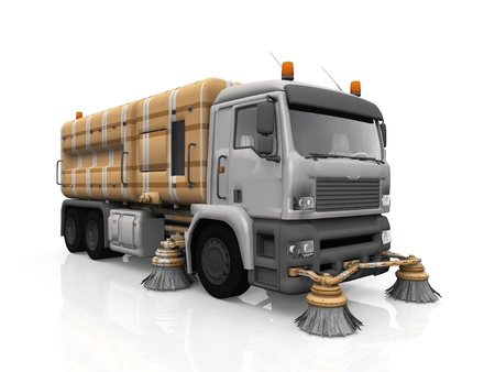 the cleaning truck on white background Stock Photo - 10956877