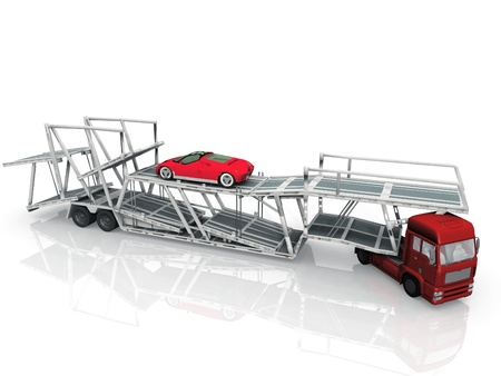 Car  transport truck on white background photo