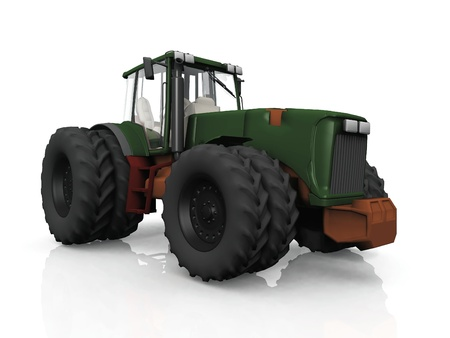 tractor with eight wheels on white background Stock Photo - 10956856