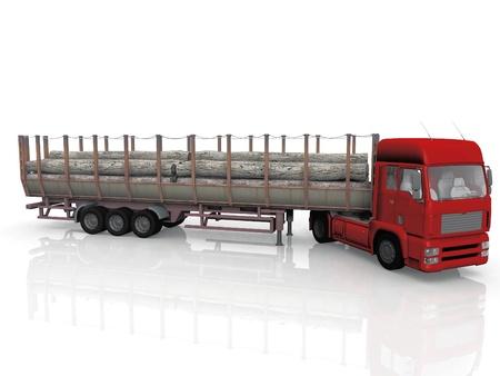 semitrailer: truck  transportation of wood  on white background