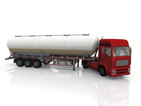 흰색 배경에 유조선 트럭