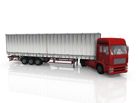 semitrailer: red truck on a white background Stock Photo