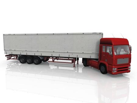 흰색 배경에 빨간 트럭