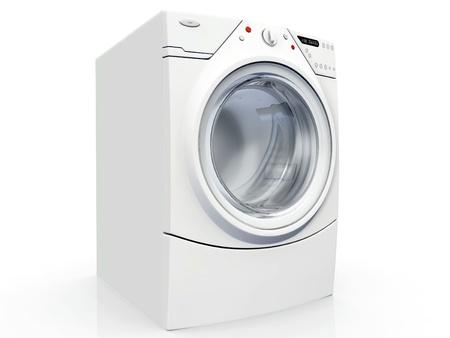 白い背景の上の洗濯機 写真素材
