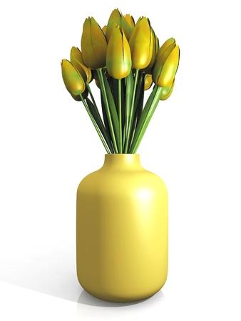 arrangement of yellow tulips in a pot photo