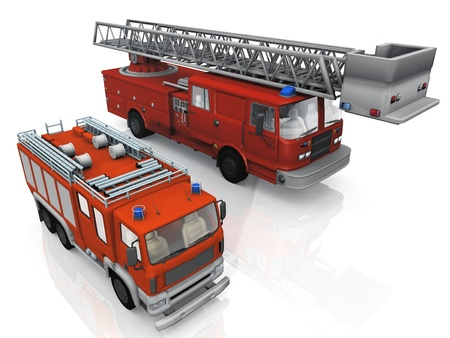 emergency response: fire trucks on a white background Stock Photo