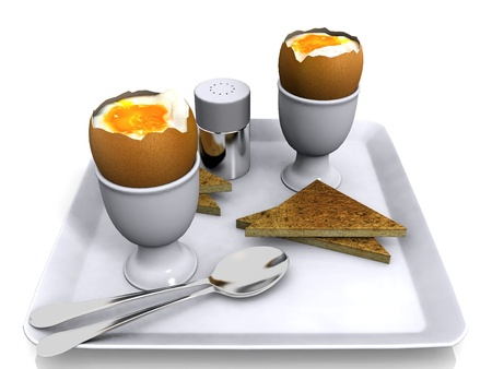 eggs  and toast for breakfast photo