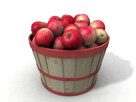 bushel: red apples on white background Stock Photo