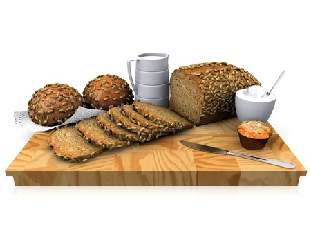 grain bread on a cutting board Stock Photo - 10974701