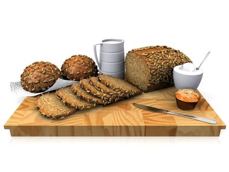 grain bread on a cutting board photo
