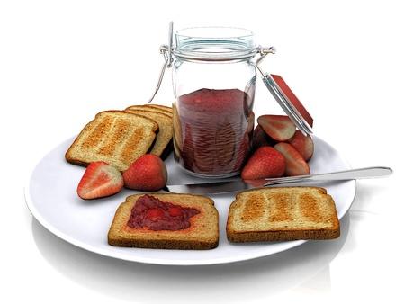 strawberry jam and toast photo
