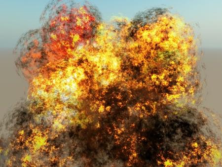 detonation: explosion on blue sky background