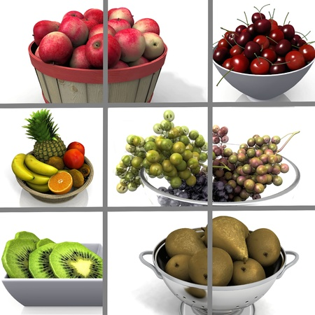 composition  of images of fruits photo